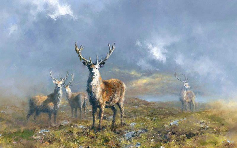 painting of stags
