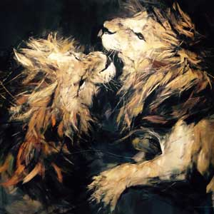 buy painting of two lions fighting