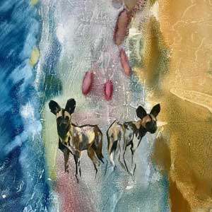 buy painting of two painted dogs