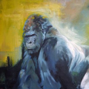Wildlife Artist of the Year 2020 competition entry - Gorilla, Oil on Canvas