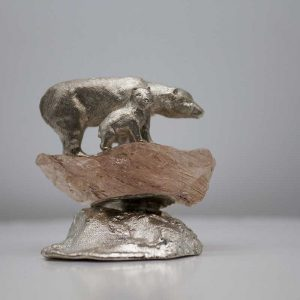 Polar bear mother and cub sculpted out of silver