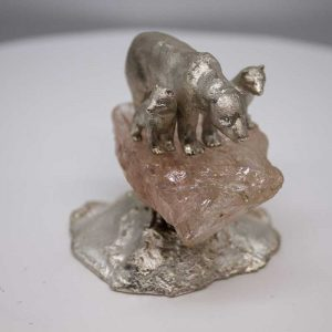 Polar bear mother and two cubs in silver and quartz by Paul Eaton
