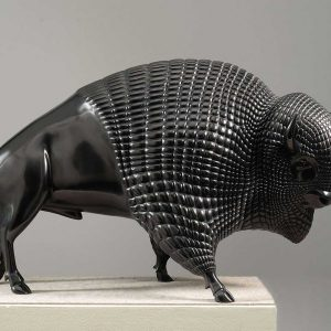 Bronze sculpture of a bison