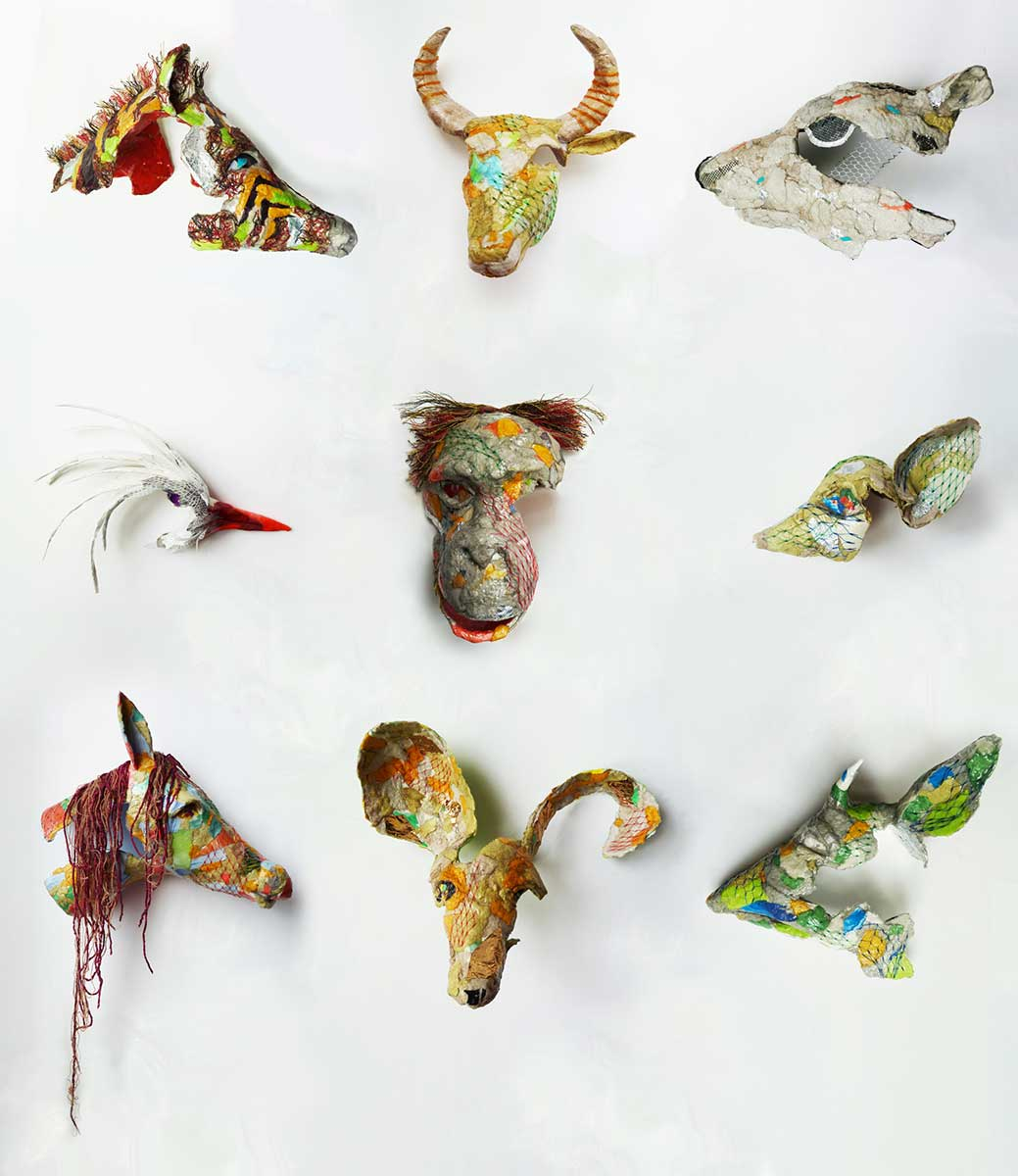 endangered upcycled materials and varnish glue sculptures entered Wildlife Artist of the Year 2020