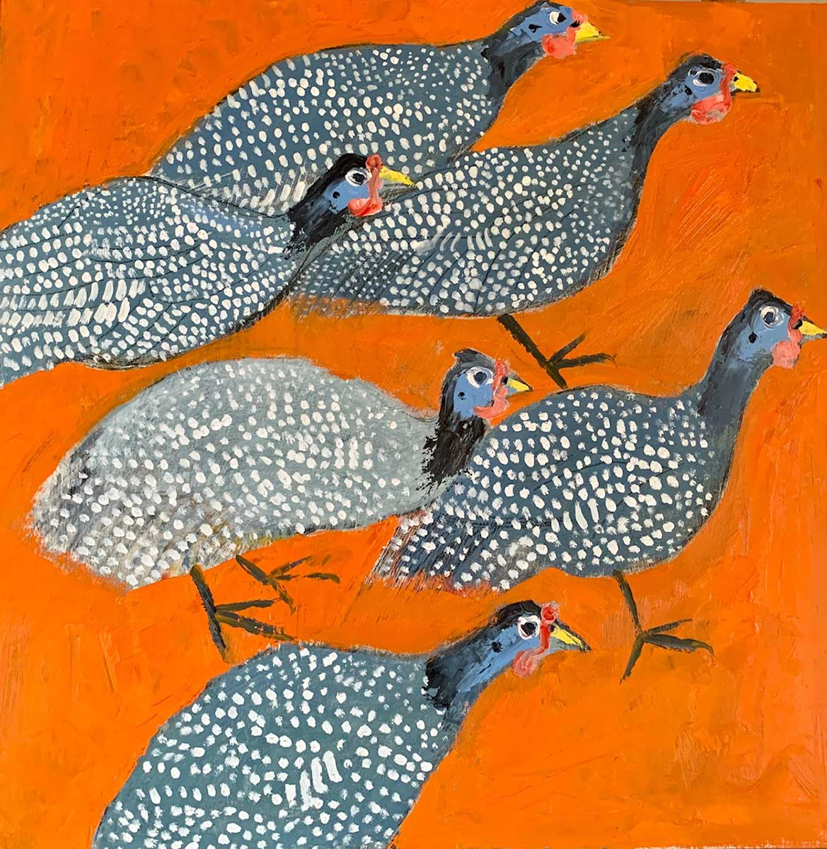 Guinea Fowl Oil on Wood entry in Wildlife Artist of the Year 2020