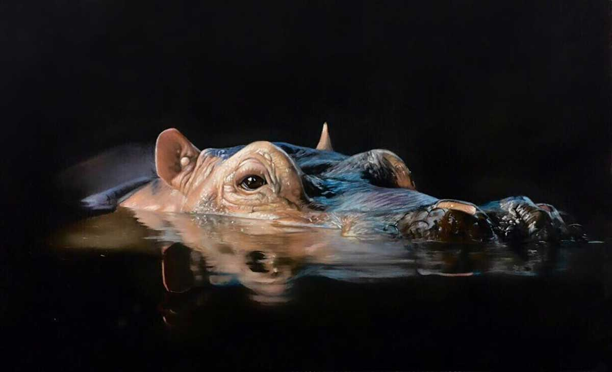 Wildlife Artist of the Year 2020 competition entry - Hippopotamus in Pastel Pencil
