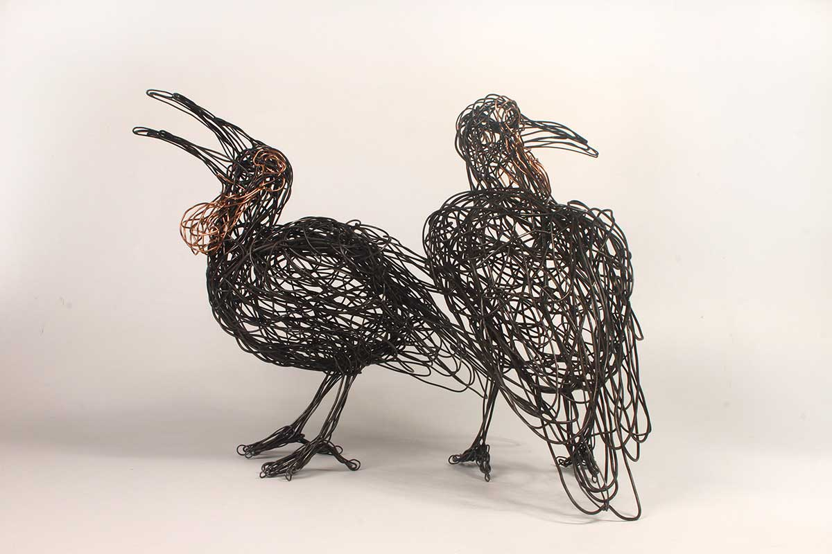 Southern Ground Hornbills wire sculpture entered Wildlife Artist of the Year 2020