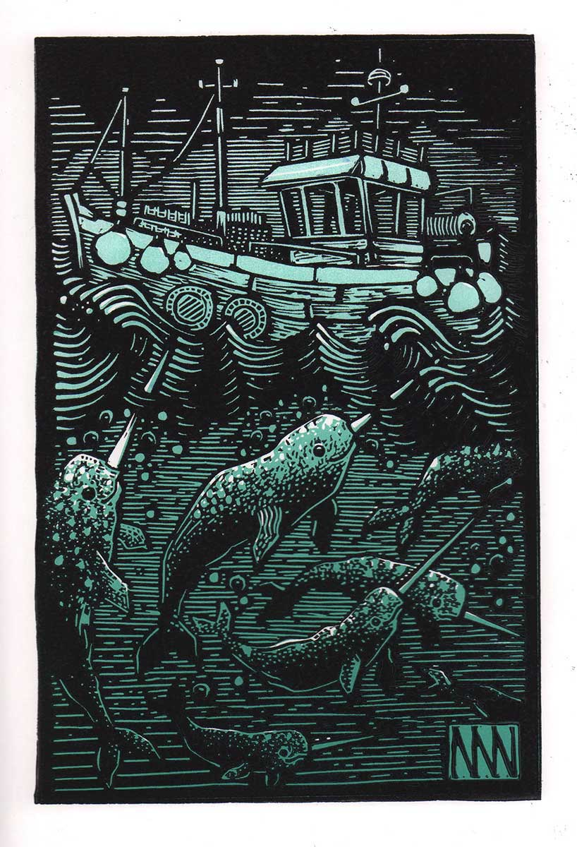 Narwhal linocut entry into Wildlife Artist of the Year 2020
