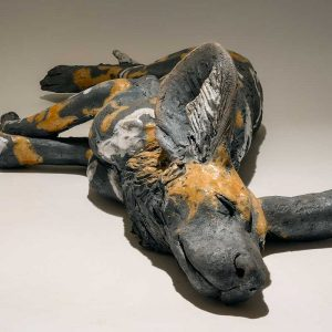 Wildlife Artist of the Year 2020 competition entry - Painted Dog in Ceramic