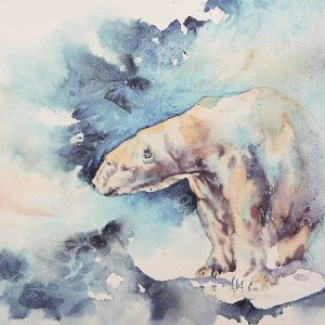 Polar Bear watercolour painting entry in Wildlife Artist of the Year 2020