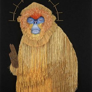Primate embroidery artwork entered Wildlife Artist of the Year 2020