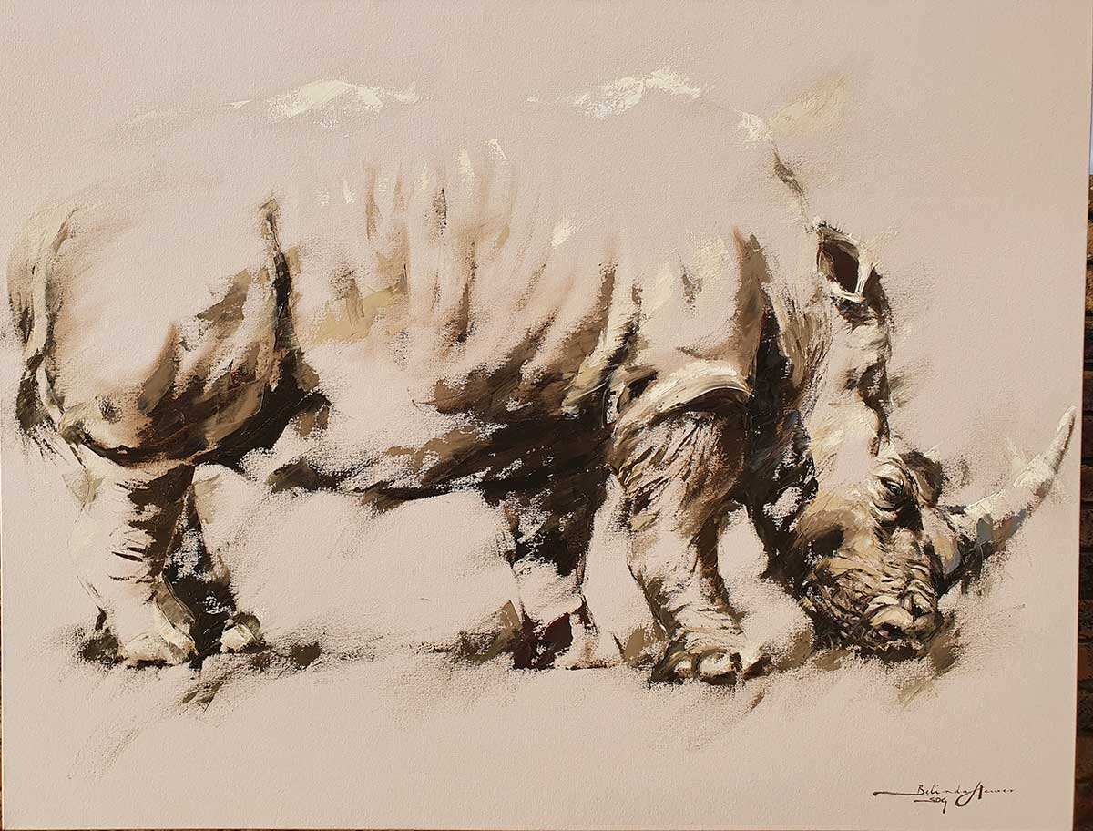 Rhino oil on canvas entry in Wildlife Artist of the Year 2020
