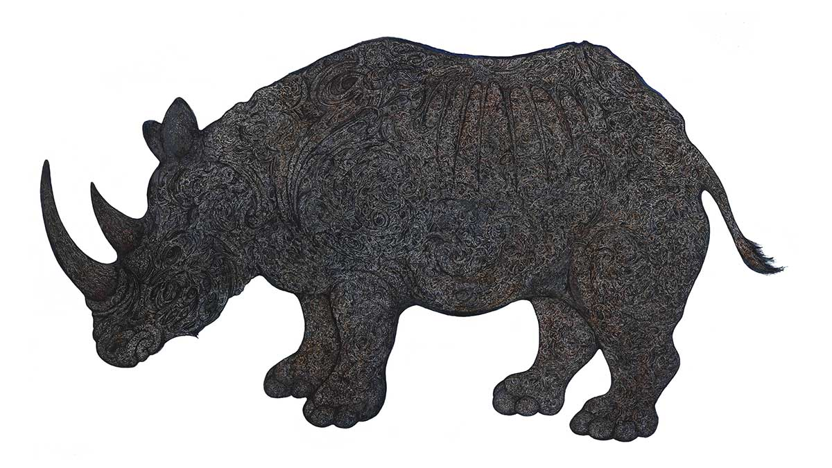 Rhino pen and ink entry in Wildlife Artist of the Year 2020