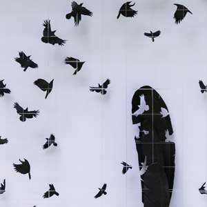 Entry by Sarah Trenchard to Wildlife Artist of the Year 2020 rooks in flight
