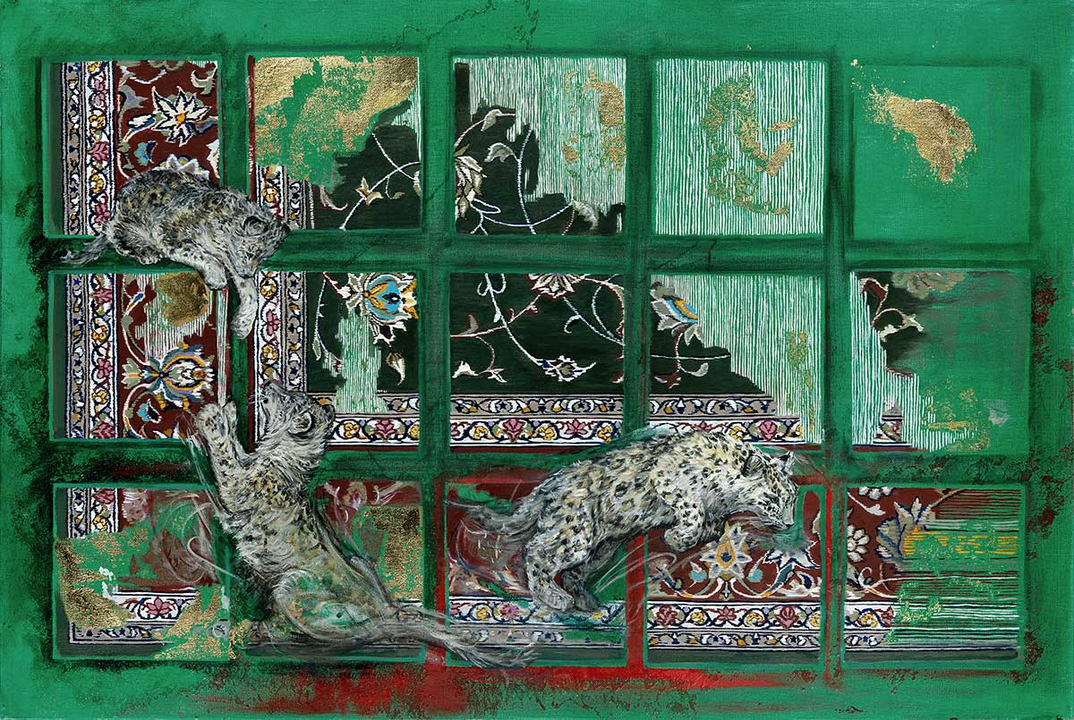 Snow Leopard gold leaf on canvas entered Wildlife Artist of the Year 2020