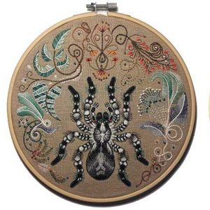 Spider embroidery entry in Wildlife Artist of the Year 2020