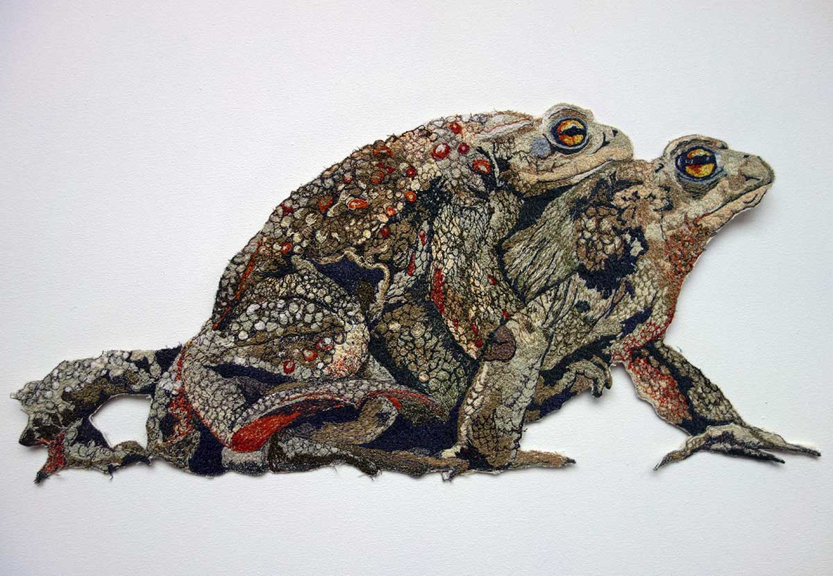 Wildlife Artist of the Year 2020 competition entry - Toad Embroidery