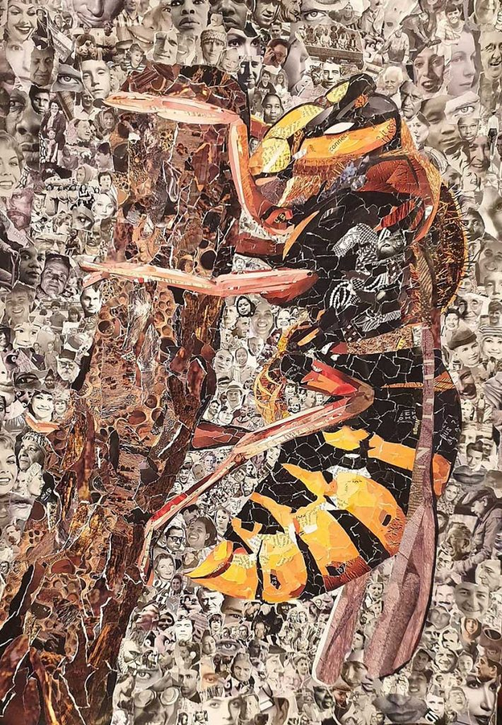 Wildlife Artist of the Year 2020 competition entry - Wasp Paper Collage