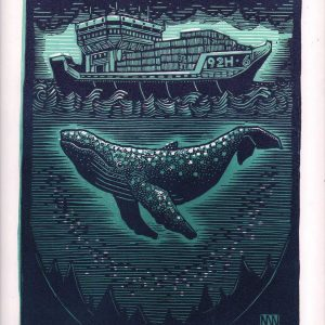 Whale linocut entry into Wildlife Artist of the Year 2020