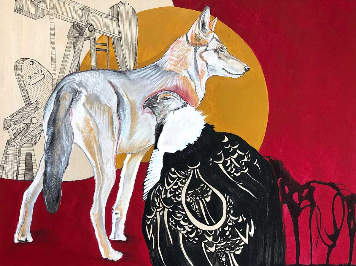 Wolf mixed media entry into Wildlife Artist of the Year 2020