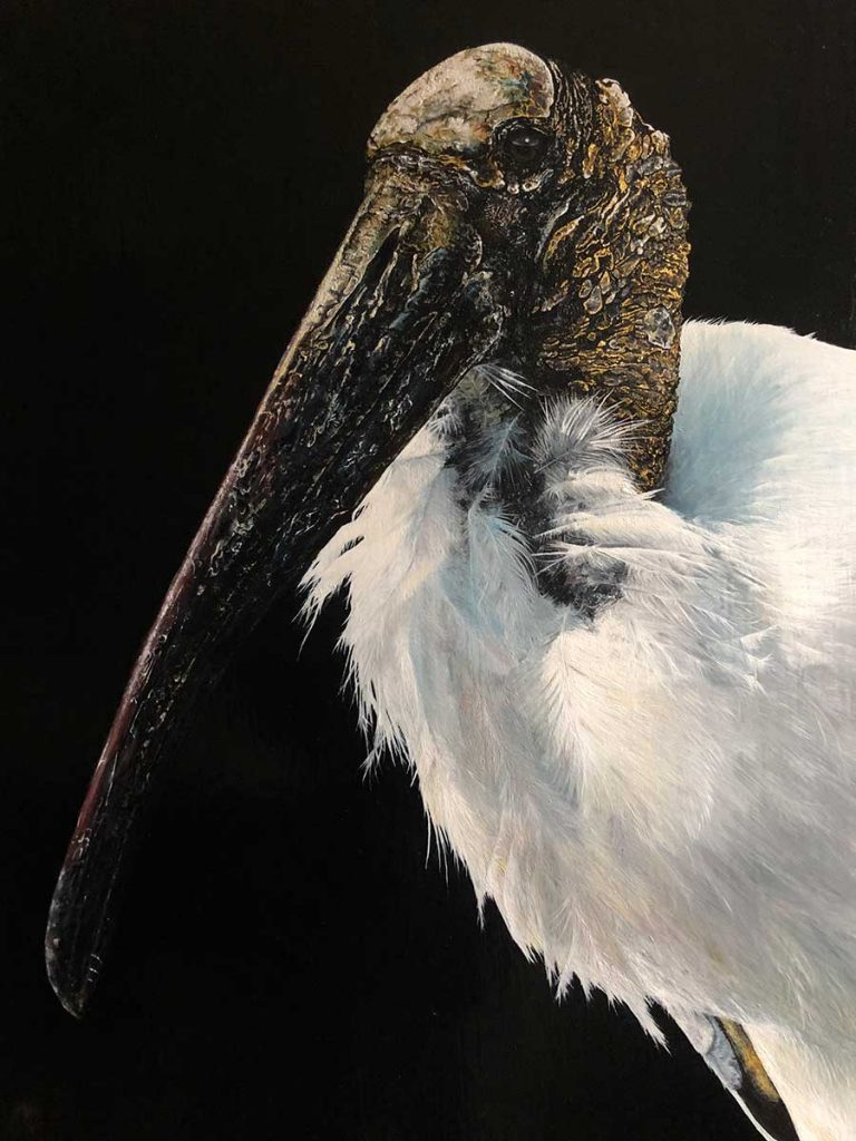 Wood Stork oil painting entry in Wildlife Artist of the Year 2020