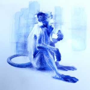 Blue watercolour painting of a monkey