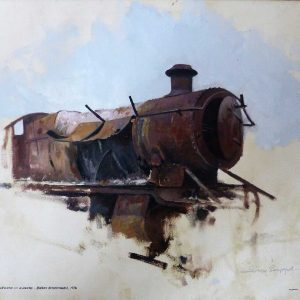train, oil on canvas by David Shepherd
