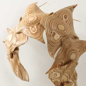 Stingray sculpture wall hanging made out of birch plywood
