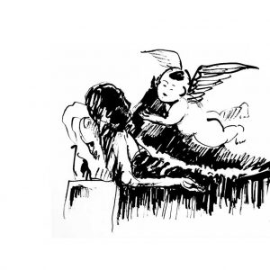 Drawing of an angel visiting an old man in his sleep