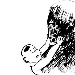 Drawing of a chinese baby holding his grandfather's cheeks