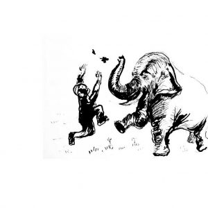 Pen and ink drawing of a man playing with an elephant