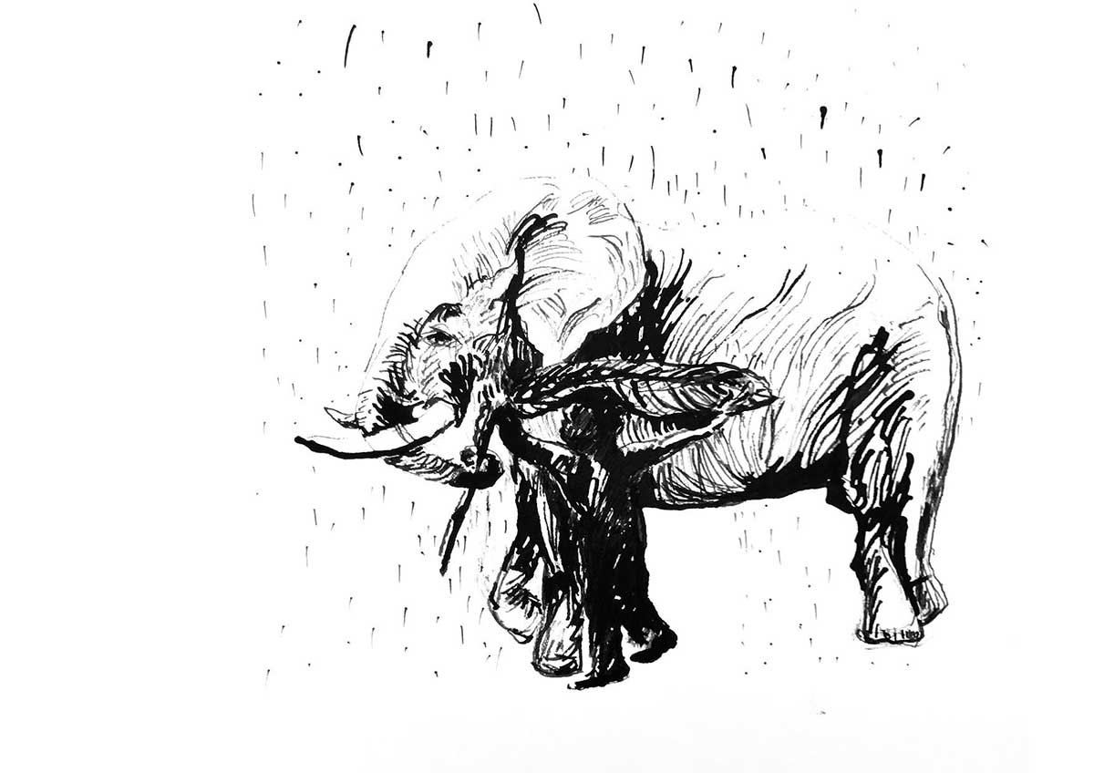 Drawing of man leading an elephant