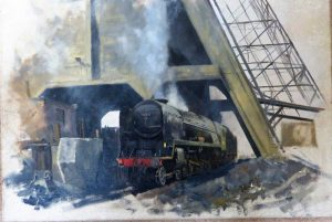 Train, oil on canvas, by David Shepherd