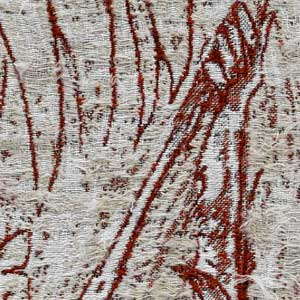 Close up of stiching on Jacquard tapestry of an orangutan