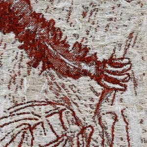 Close up of the arm and hand of an orangutan stitched by hand