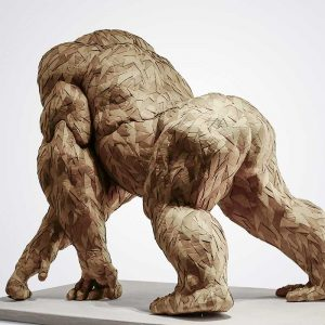View of the back of a gorilla made out of cardboard