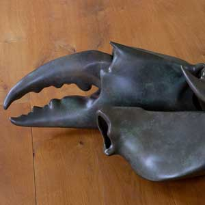 Bronze crab claw sculpted by Rich Simpson