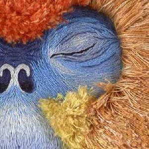 The eye of a primate stitched in blue