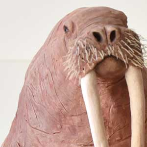 sculpture of walrus showing tusks, whiskers
