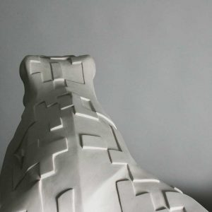 Pattern on sculpture of a frog in resin and marble