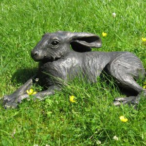 Lying hare bronze resin sculpture