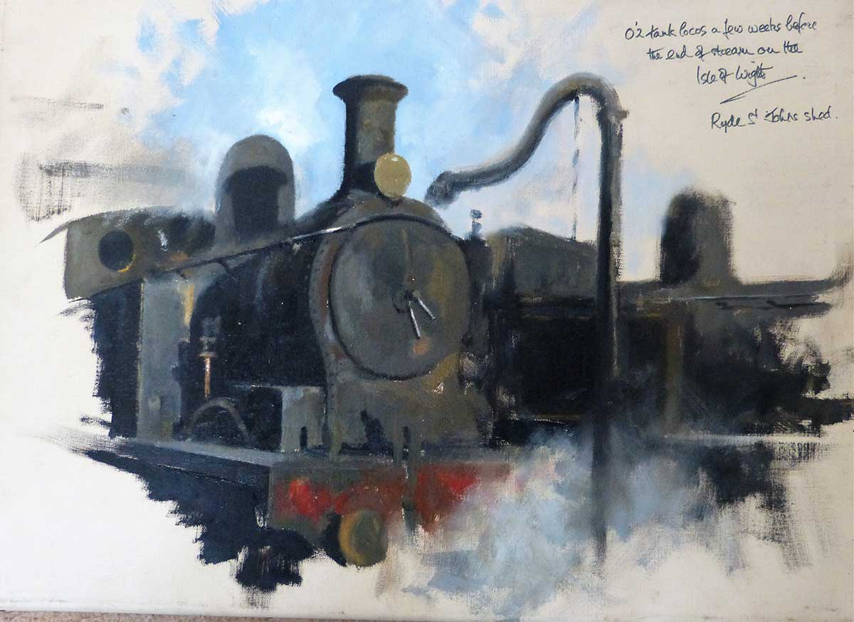 Buy this original oil of an engine by David Shepherd in aid of conservation