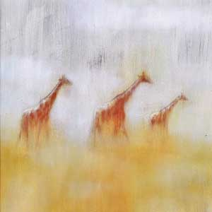 Hazy painting of 3 giraffes by Laura Pearse