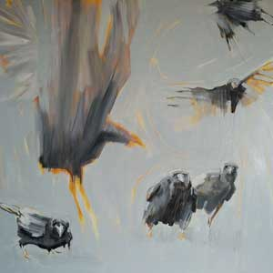 Painting of crows in six different crows positions