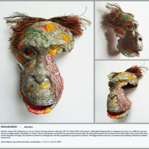 Multicoloured bonobo sclupture