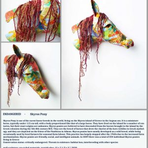 Multicoloured sculpture of a Skyros pony with mane