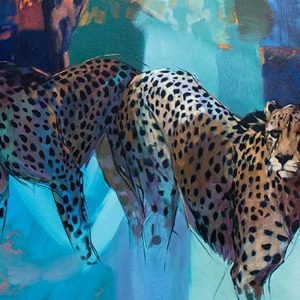 emily lamb's painting of a cheetah