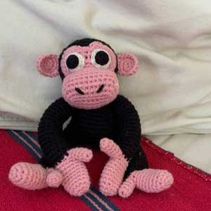 Handmade crochet ethically sourced chimpanzee toy