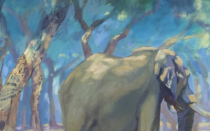 Cropped image of Emily Lamb paintingof 5 elephants amongst vibrant trees