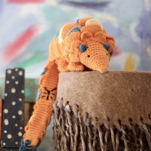 handmade crochet pangolin children's toy from Zambia